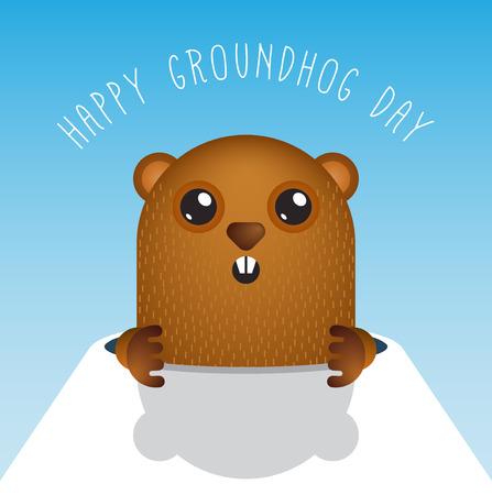 Happy Groundhog Day with Groundhog Vector