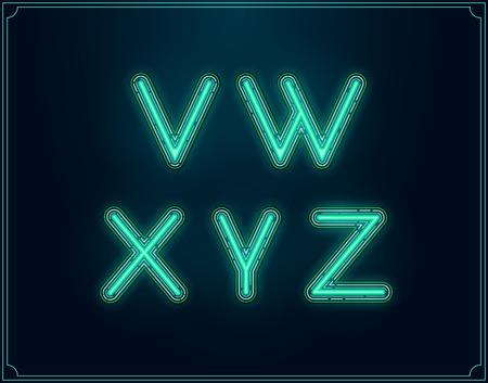 fluorescent tubes: Neon Font Type Alphabet. Glowing in Vector.