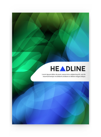 blend: Visual identity with letter  elements bright gradients blend style. Brochure cover template mockups for business with Fictitious name