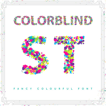 Set of Colorblind Style Font in Vector. Fresh trendy colors. Illusztráció