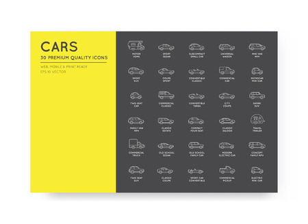 Vector Car Icons Set with All Car Types and Names Illustration