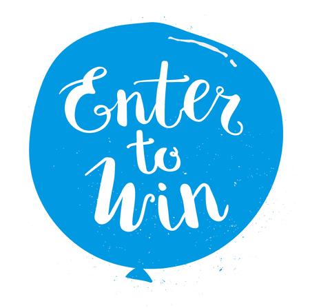 Enter to Win Vector Sign, Win Prize, Win in Lottery Vektorové ilustrace