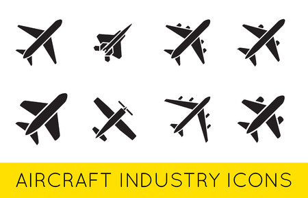Aircraft or Airplane Icons Set Collection Vector Silhouette Set Colletion Illustration
