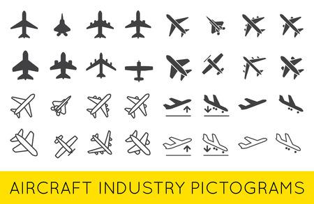航空機または飛行機アイコン セットのコレクション ベクター シルエット セット コレクション