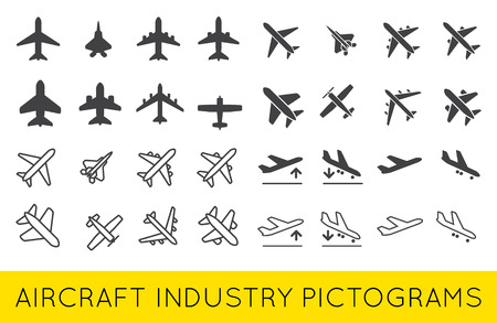 Aircraft or Airplane Icons Set Collection Vector SilhouetteSet Colletion Vettoriali