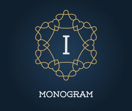 Monogramme Modèle de conception avec de l'or Lettre Illustration Vecteur Premium Qualité élégante sur bleu marine