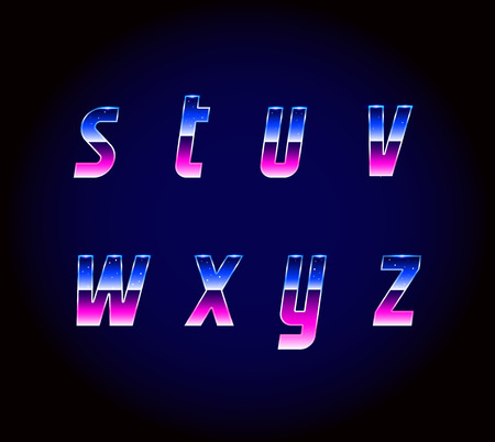 80s: 80s Retro Futurism Sci-Fi Font Alphabet Vector Illustration