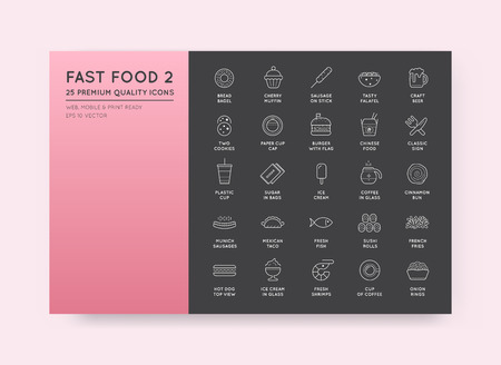 panini: Set of Vector Fastfood Fast Food Elements Icons and Equipment as Illustration