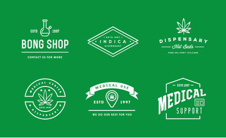 dispensary: Set of Medical Cannabis Marijuana Sign or Label Template in Vector.