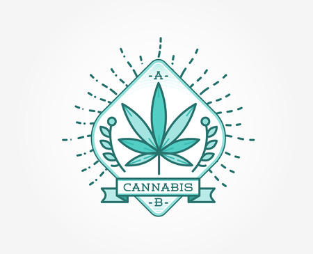 cannabis sativa: Medical Cannabis Marijuana Sign or Label Template in Vector.