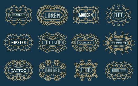 swash: Set of Luxury Insignias Template Retro Design Line Art Vintage Style Victorian Swash Elements Vector Collection