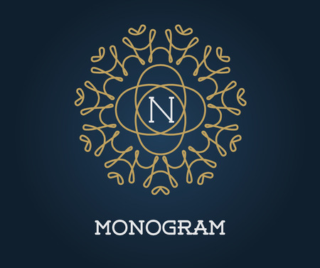 navy blue: Monogram Design Template with Letter Vector Illustration Premium Elegant Quality Gold on Navy Blue Illustration
