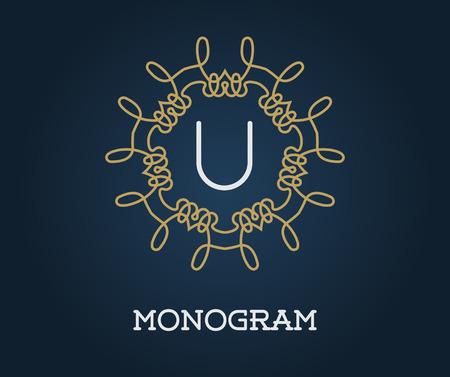 Monogram Design Template with Letter Vector Illustration Premium Elegant Quality Gold on Navy Blue Illustration