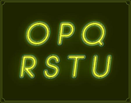italic: Neon Italic Font Type Alphabet. Glowing in Vector.