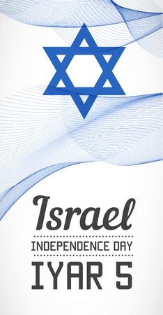 blending: National Day Vertical Banner of the Country in Blending Lines Style Vector with Date. Iyar means April-May on Hebrew.