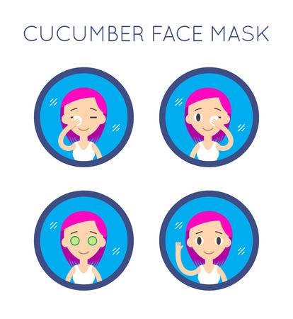 woman washing face: Vector Face Cleaning And Care Actions Set