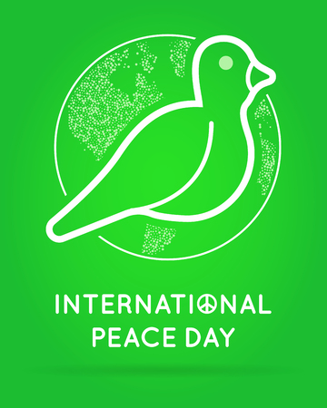 peace day: International Peace Day with Dove. Vector.
