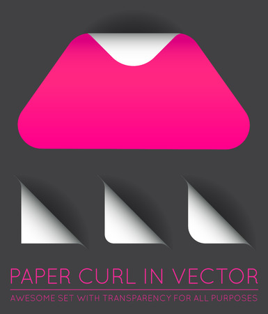 paper curl: Vector Triangle with Paper Curl with Shadow Isolated Set.