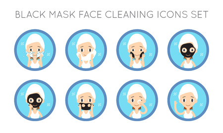 pore: Vector Face Cleaning And Care Actions Set