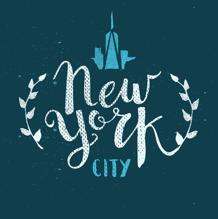 calligraphy pen: New York City Template Hand Drawn Calligraphy Pen Brush Vector
