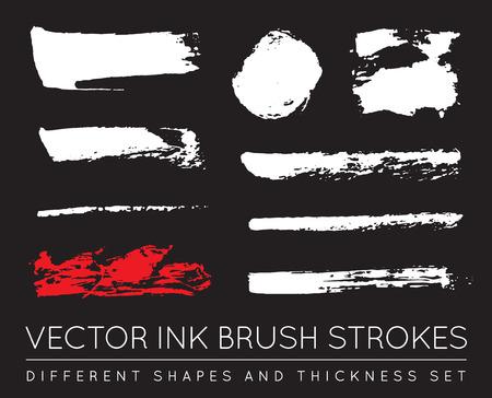 pen and ink: Set of Vector Black Pen Ink Brush Strokes. Grunge Ink Brush Stroke. Dirty Brush Stroke. Illustration