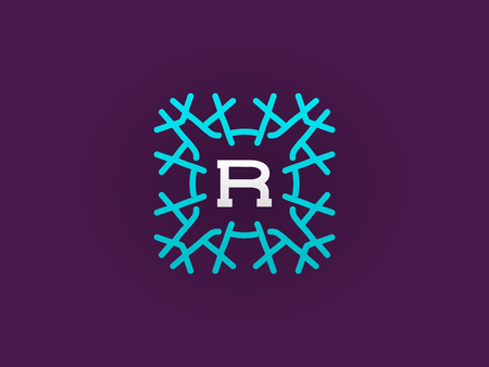 Compact Monogram or Icon Design Template with Letter Vector Illustration Premium Elegant Quality