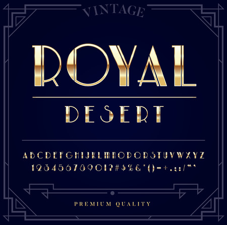 Gold Metallic Font Set. Letters, Numbers and Special Characters in Vector Vettoriali