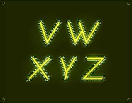 fluorescent tubes: Neon Italic Font Type Alphabet. Glowing in Vector.