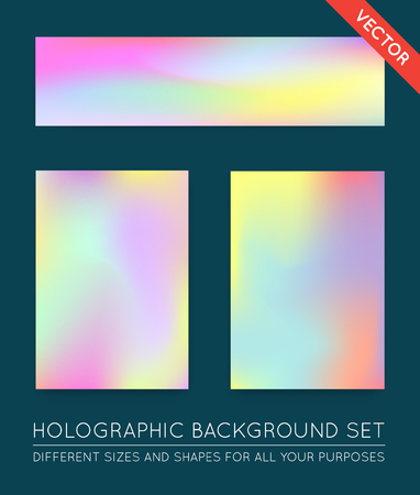 holography: Set of Holographic Trendy Backgrounds. Can be used for Cover, Book, Print, Fashion.