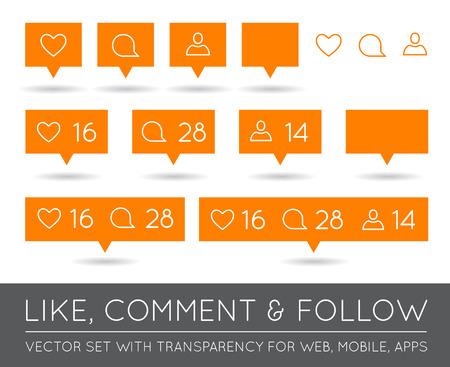 follower: Vector Like, Follower, Comment Icon Set