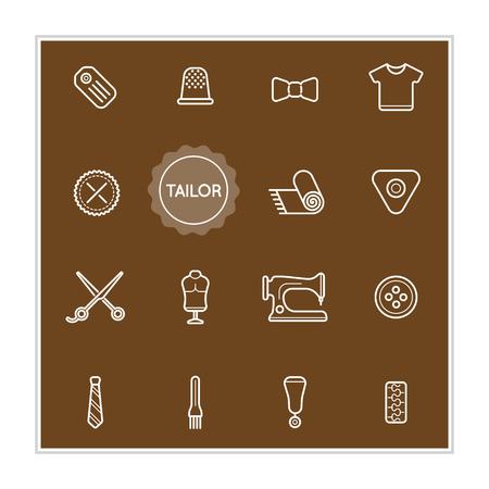 zip tie: Set of Tailor Vector Illustration Elements