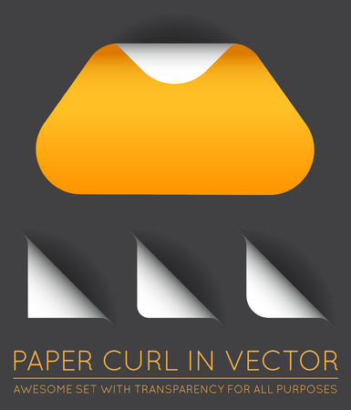 curl: Vector Triangle with Paper Curl with Shadow Isolated Set.