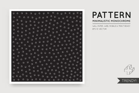 Vector Zwarte abstracte achtergrond met naadloze Random White Monochrome Cijfers Stock Illustratie