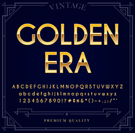 Gold Metallic Font Set. Letters, Numbers and Special Characters in Vector  イラスト・ベクター素材