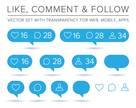 Vector Like, Follower, Comment Icon Set