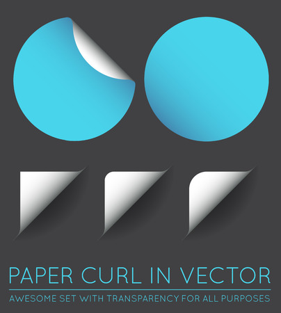 paper curl: Set of Vector Stickers with Paper Curl