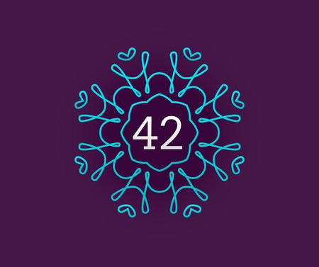Monogram Design Template with Number in Vector. Premium Elegant Quality Turquoise on Violet with White Number 42.