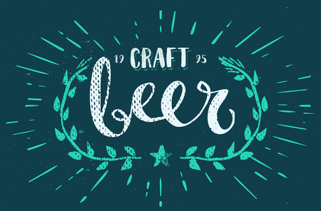 calligraphy pen: Craft Beer Template Hand Drawn Calligraphy Pen Brush Vector