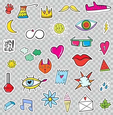 heart with crown: Set of Patches Elements like Flower, Heart, Crown, Cloud, Lips, Mail, Diamond, Eyes. Hand Drawn Vector. Cute Fashionable Stickers Collection. Doodle Pop art Sketch Badges and Pins.