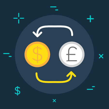 currency converter: Vector Business or Finance Category Flat Minimal Style Colorful Icon Illustration