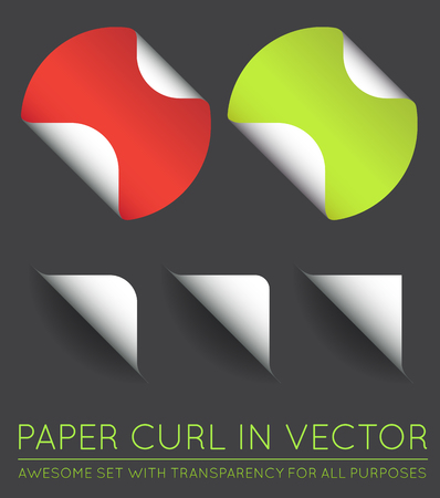 curl: Set of Vector Stickers with Paper Curl