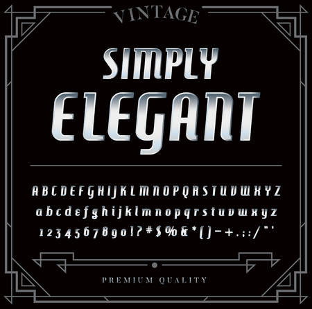 chrome: Silver or Chrome Metallic Font Set. Letters, Numbers and Special Characters in Vector