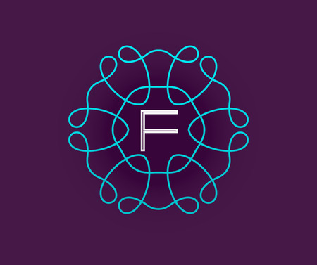 Monogram Design Template with Letter in Vector. Premium Elegant Quality Turquoise on Violet with White Letter. Illustration