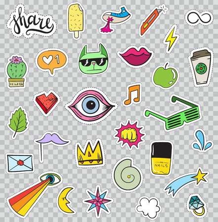 heart and crown: Set of Patches Elements like Flower, Heart, Crown, Cloud, Lips, Mail, Diamond, Eyes. Hand Drawn Vector. Cute Fashionable Stickers Collection. Doodle Pop art Sketch Badges and Pins.