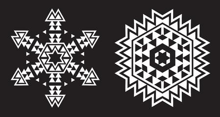 Ethnic Fractal Mandala Vector looks like Snowflake or Maya Aztec Pattern or Flower