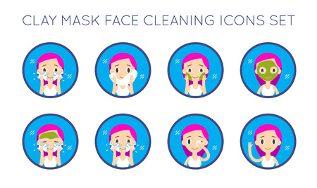clay mask: Vector Face Cleaning And Care Actions Set