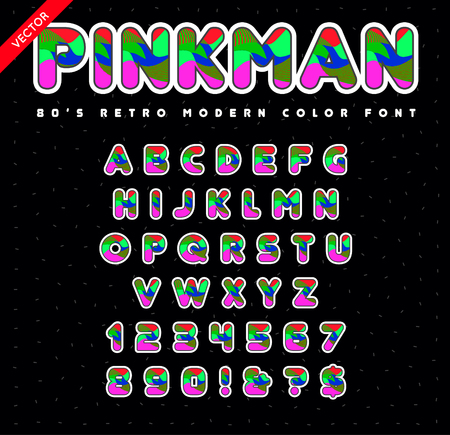 90s: 80s - 90s Style Alphabet. Colorful Bright Font Set. Vector.
