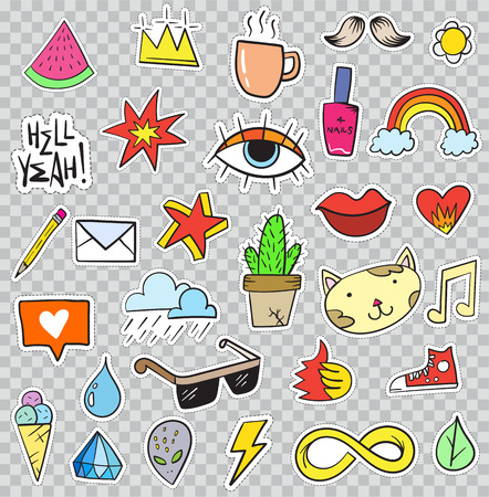 snickers: Set of Patches Elements like Flower, Heart, Crown, Cloud, Lips, Mail, Diamond, Eyes. Hand Drawn Vector. Cute Fashionable Stickers Collection. Doodle Pop art Sketch Badges and Pins.