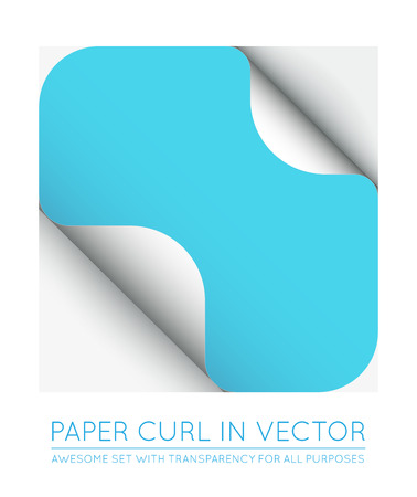 page curl: Vector Color Paper Page Curl with Shadow Isolated. Illustration