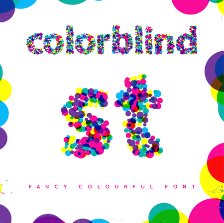 Set of Colorblind Style Font in Vector. Fresh trendy colors. Stock fotó - 63656531
